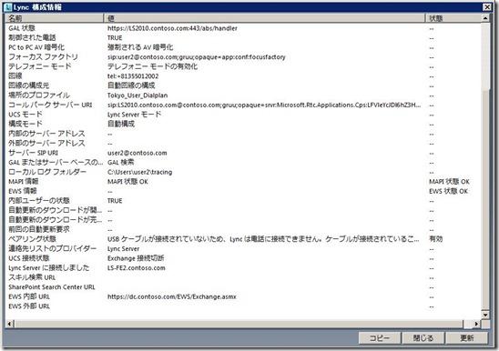 Lync構成情報